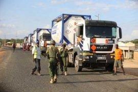 Trucks transport crude oil from Turkana to Mombasa in early oil pilot scheme.